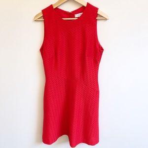 Reiss 12 Red Sleeveless Laser Cut Cocktail Dress